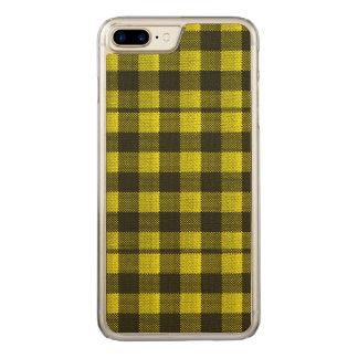 Regard Checkered de toile de jute de motif de Coque En Bois iPhone 7 Plus