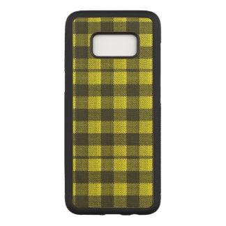 Regard Checkered de toile de jute de motif de Coque En Bois Samsung Galaxy S8