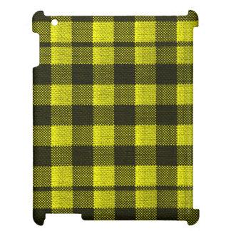 Regard Checkered de toile de jute de motif de Étuis iPad