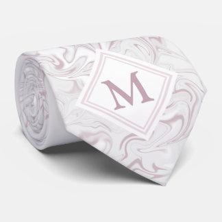 Regard de marbre mauve et blanc avec le monogramme cravates
