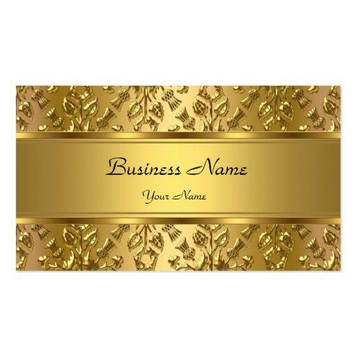 Regard de relief par damassé chique élégante d'or modèles de cartes de visite