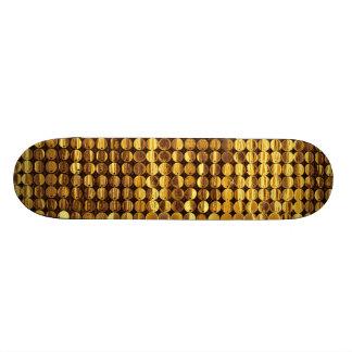Regard de scintillement de paillette d'or plateaux de skateboards