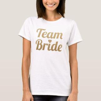 Regard de scintillement d'or de jeune mariée t-shirt