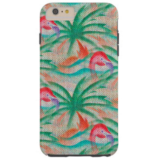 Regard de toile de jute de palmier de flamant coque iPhone 6 plus tough