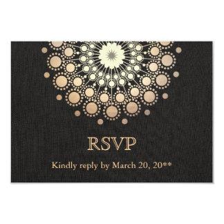Regard de toile RSVP d'or de cercle de noir Carton D'invitation 8,89 Cm X 12,70 Cm