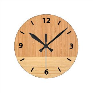 Regard du bois de grain de frontière en bambou horloge ronde