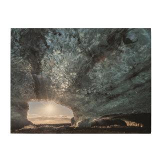 Regard d'une caverne de glace, l'Islande Impression Sur Bois