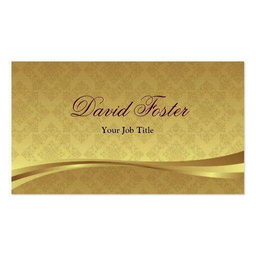 Regard élégant de feuille d'or avec la damassé de  cartes de visite professionnelles