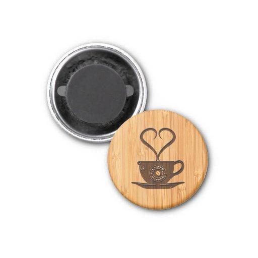 Regard en bambou et café mignon gravé d'amour d'I Magnets Pour Réfrigérateur