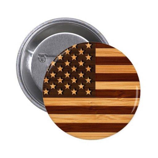 Regard en bambou et drapeau vintage gravé des Etat Badges Avec Agrafe