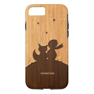 Regard en bambou et petit prince gravé Fox Pattern Coque iPhone 8/7
