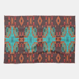 Regard ethnique éclectique turquoise de rouge serviette éponge