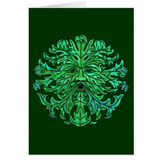 Regard fixe d'homme vert carte de vœux