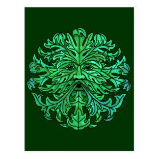 Regard fixe d'homme vert carte postale