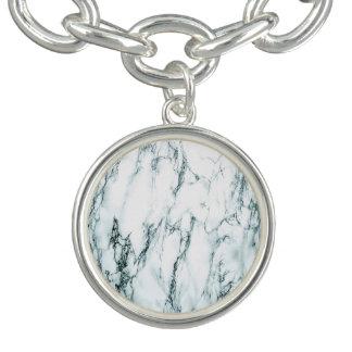 Regard foncé de marbre de veine de turquoise bracelet avec breloques