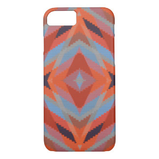 Regard tricoté géométrique bleu orange rouge coque iPhone 7