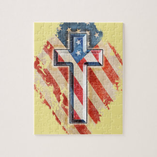 Regard vintage de croix chrétienne de foi de puzzle