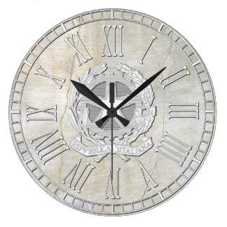 Regard vintage de plâtre de République italienne Grande Horloge Ronde