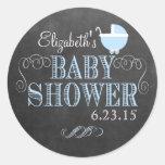 Regard vintage de tableau - baby shower adhésifs ronds