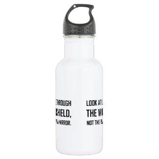 Regardez la vie par le rétroviseur de pare-brise bouteille d'eau en acier inoxydable