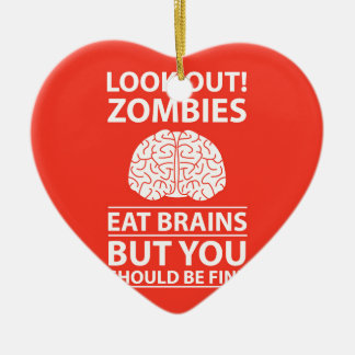 Regardez - les zombis mangent la plaisanterie de ornement cœur en céramique