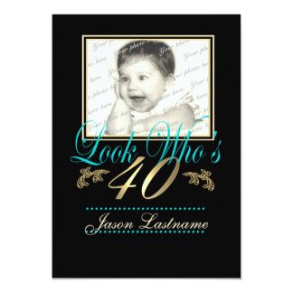 Regardez qui est 40 la photo Teal Carton D'invitation 12,7 Cm X 17,78 Cm