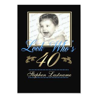 Regardez qui est bleu de 40 photos carton d'invitation  12,7 cm x 17,78 cm