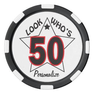 Regardez qui est le cinquantième anniversaire de lot de jeton de poker