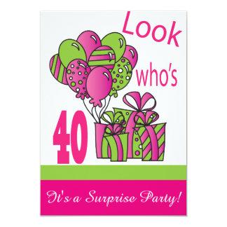 Regardez qui est le quarantième anniversaire de 40 carton d'invitation  12,7 cm x 17,78 cm