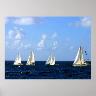 """Régate 14"""" de bateau à voile x 11"""" affiche de vale"""