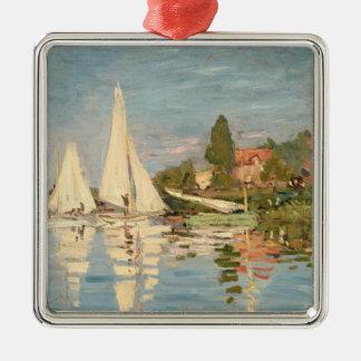 Régate de Claude Monet | à Argenteuil, c.1872 Ornement Carré Argenté