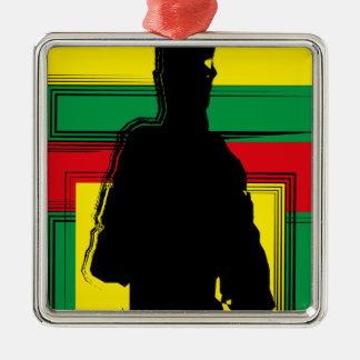 Reggae bobo art ornement carré argenté