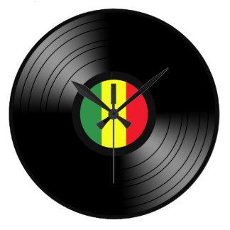 Reggae de vinyle grande horloge ronde