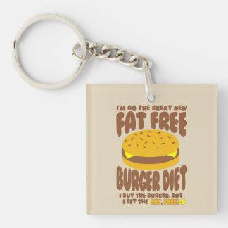 Régime non gras d'hamburger porte-clé carré en acrylique double face