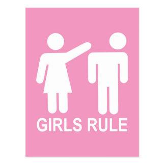 Règle de filles carte postale