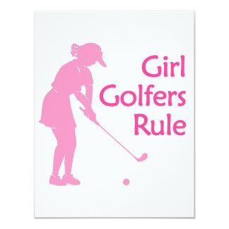 Règle de golfeurs de fille carton d'invitation 10,79 cm x 13,97 cm