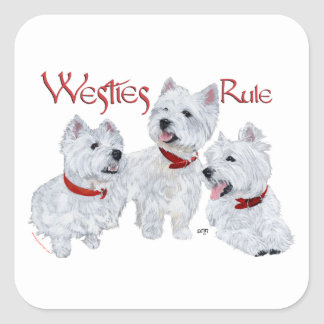Règle de Westies ! Sticker Carré