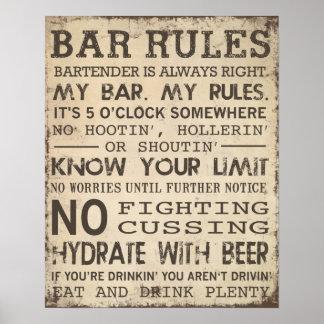 Règles de barre posters