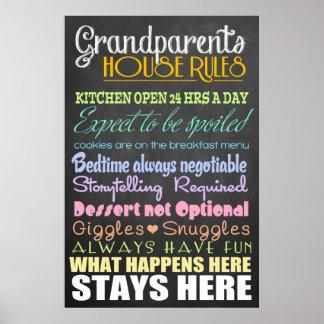 Règles de Chambre de grands-parents Affiche