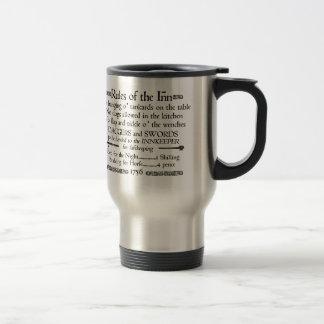 Règles de l'auberge, signe du 18ème siècle mug de voyage