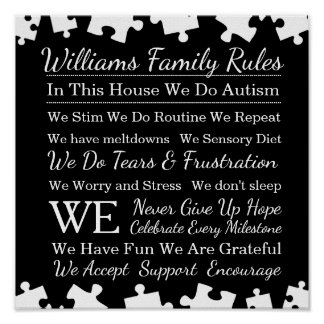 Règles personnalisées de famille d'autisme poster