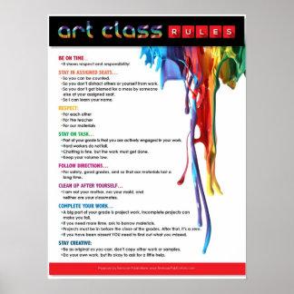 Règles pour la salle de classe d'art posters