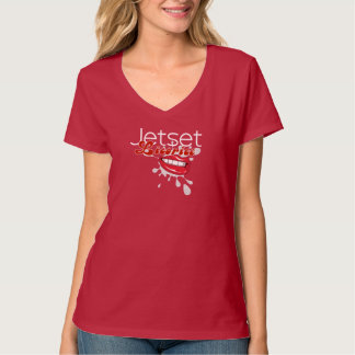 Réglisse de Jetset > T-shirt du V-Cou des femmes