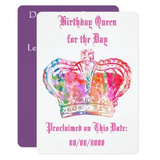 Reine d'anniversaire pour le jour carton d'invitation  12,7 cm x 17,78 cm