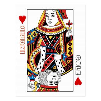 Reine de cartes de jeu + Le roi des coeurs font Carte Postale