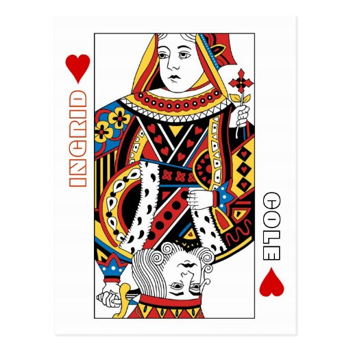Reine de cartes de jeu + Le roi des coeurs font ga Carte Postale