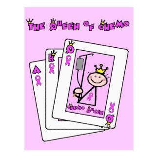 Reine de chimio - ruban rose de cancer du sein carte postale