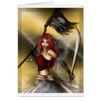 Reine de pirate avec le drapeau carte de vœux