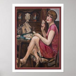 Reine des coeurs - 1928 copie 12 x 16 d'art déco