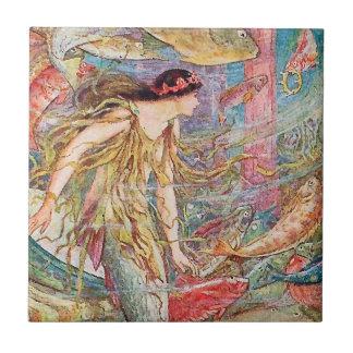 Reine des poissons - livre féerique orange petit carreau carré